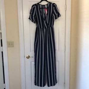 Navy blue striped jumpsuit